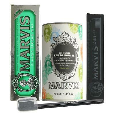 Marvis Mouthwash, Classic Mint Toothpaste & Black Toothbrush DEAL