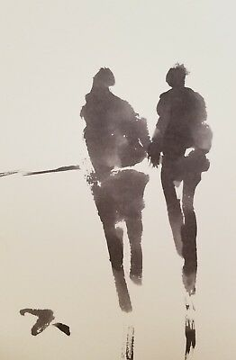 JOSE TRUJILLO MODERN ABSTRACT EXPRESSIONIST INK WASH ART COLLECTIBLE 6x9 FIGURES