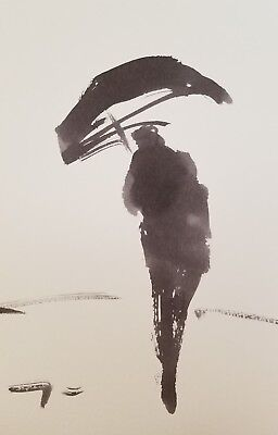 """JOSE TRUJILLO - MODERN ABSTRACT EXPRESSIONIST INK WASH SIGNED COLLECTIBLE 6x9"""""""