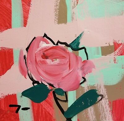 JOSE TRUJILLO - Acrylic Painting 6x6 Modernism ABSTRACT Contemporary Colors Rose