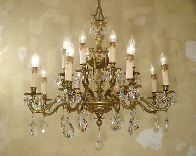 Large Crystal Brass Spanish Chandelier Vintage Fixtures 16 Light Used Lustre
