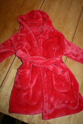 Girls Hot Pink Velour Fluffy Dressing Gown, Age 5-6 from George