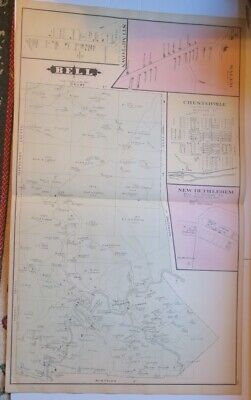 Original 1878 Hand Colored Map Of Bell Township,Salem,Clearfield County,Pa,Ownrs
