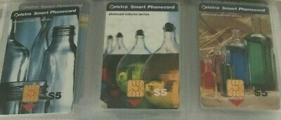 Telstra Smart Phonecards - Collector Service Bottles Set Of 3