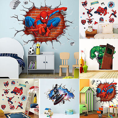 Super Hero Avengers Mural Vinyl Wall Decal Stickers Kid Nursery Bedrooms Decor