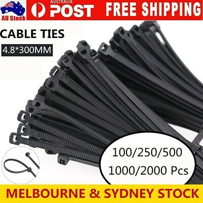 Cable Ties Zip Ties Nylon UV Stabilised 100/250/500/1000/2000 x Bulk Black Tie