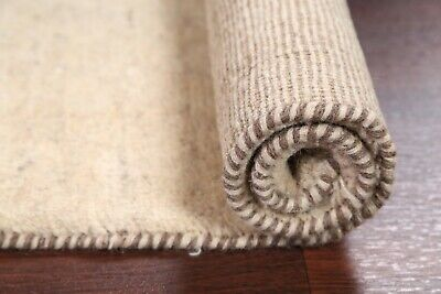 Thick Pile Solid Gabbeh Oriental Area Rug Wool Hand-Knotted Ivory Carpet 3'x4'