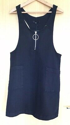 Very Ladies Dress 10 Black Denim Dungaree Pinafore New with Tags Casual Blogger