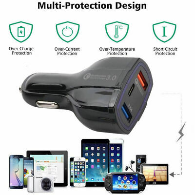 QC 3.0 Dual USB Car Charger 2 Port Adapter For Smart Mobile Cell Phone Universal
