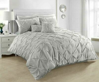 King Size Pintuck Duvet Cover 100% Cotton Quilt Bed Set Silver Grey Bedding Sets