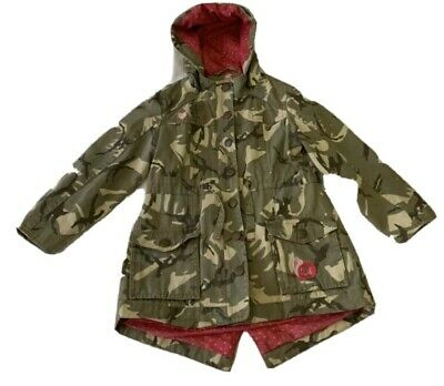 GIRLS size 6 - 7 years NUTMEG  Camo jacket coat with hood