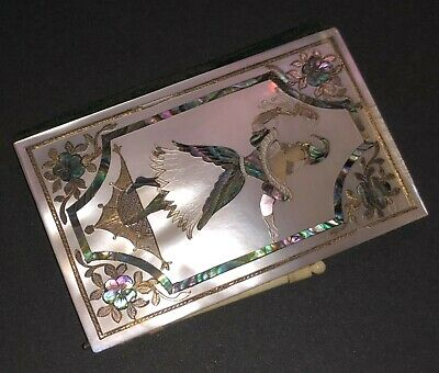 Antique French Mother Of Pearl Abalone Figural Columbine & Jester Aide Memoire