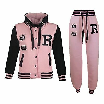 Kids Girls Boys Hooded Baseball Varsity Baby Pink Tracksuit Hoodie Bottom Jogger