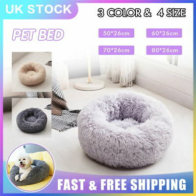 Large Luxury Shag Warm Fluffy Pet Bed Dog Cat Nest Fur Donut Cushion Mat Gift UK