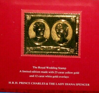 Royal Wedding Charles & Dianna 1981 23 Carat Gold Stamp Attractive