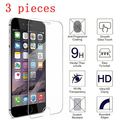 For iPhone 5 5S 6 6S 7 8 Plus Tempered Glass Protective Screen Protector Film 3X