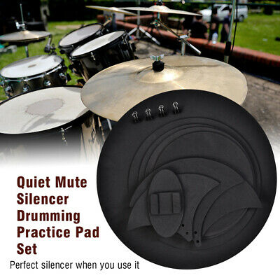 10x Mute Silencer Drumming Practice Pad Set Musicial Bass Drums Sound off Black