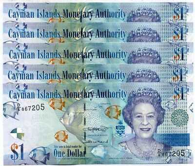 Cayman Islands 1 Dollar 2018 Qeii D/6 P 38 New Sign Unc Lot 5 Pcs