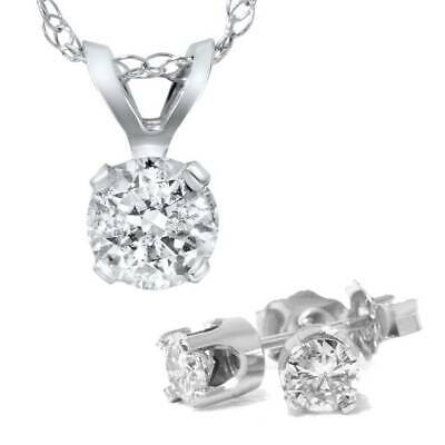 1 5/8 Carat Diamond Solitaire Necklace & Studs Earrings Set 14K White Gold