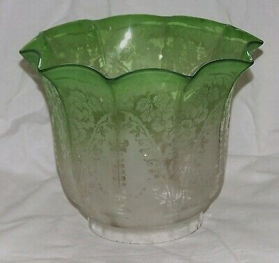Antique Glass Oil-Lamp Shade ~ Victorian Green/Clear Etched Glass Duplex Shade