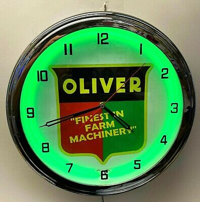 """16"""" OLIVER Tractor Nostalgic Sign Green Neon Wall Clock Garage Man Cave"""