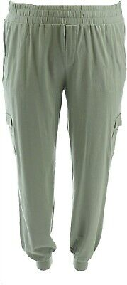 AnyBody Loungewear Tall Cozy Knit Cargo Jogger Pants Clover M NEW A310169