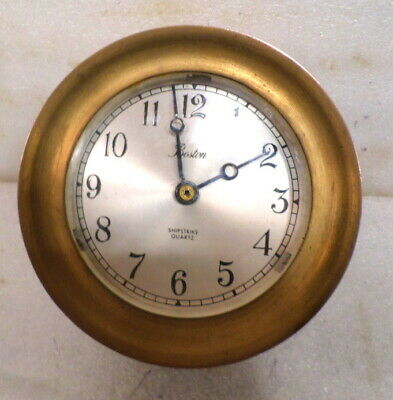Signed Boston Solid Brass Ship's Bell Striking Ship Clock--Made By Chelsea