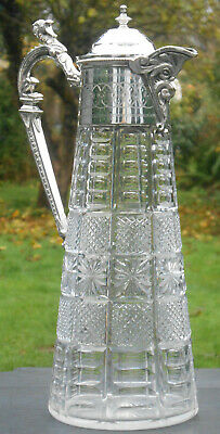 Fine Antique Silver Plated & Cut Glass Claret Jug