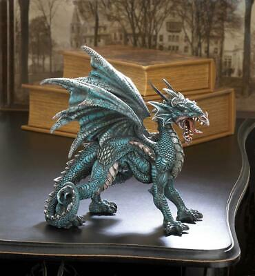 medieval BLUE winged Dragon medallion trophy throne Statue LED night light lamp
