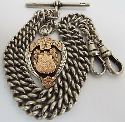Superb Condition Heavy English Antique 1924 Sterling Silver Double Albert Chain