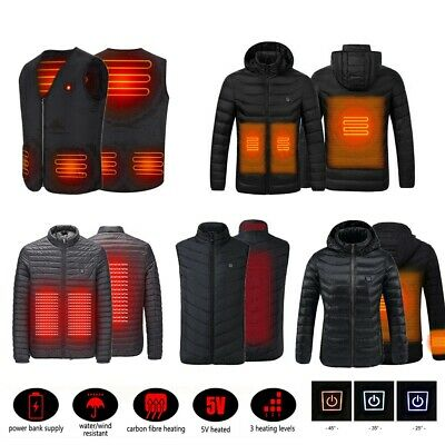 Men Women USB Electric Heated Vest / Coat Winter Warm Heating Cotton Jacket
