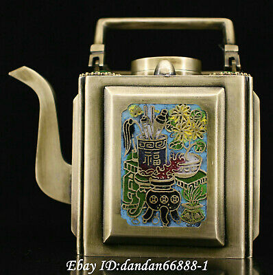 Chinese old Bronze inlay jewel cloisonne teapot water bottle teakettle wine pot