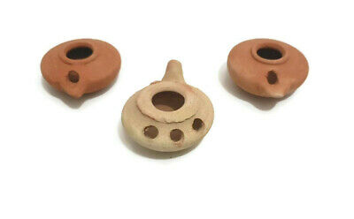 Oil Lamp 3 Pottery Terracotta Clay Ancient Holy Land Antique Jug Pitcher Menorah
