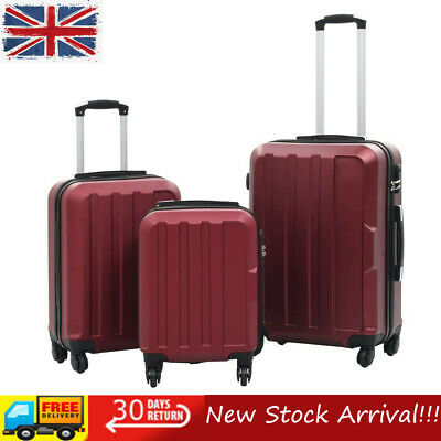 3 Piece Hardcase Trolley Set Wine Red Travel Luggage Bag Suitcase High Quality