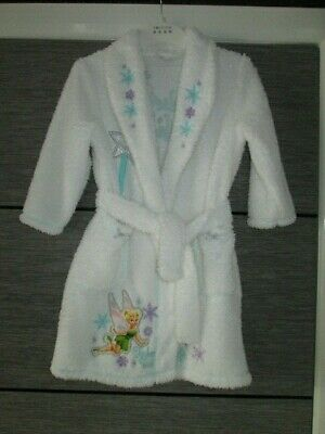 Girls White Fluffy Disney Tinkerbell Dressing Gown Age 4-5 Yrs Vgc