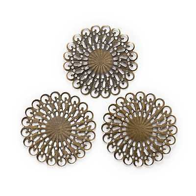Bronze Tone Filigree Square Wraps Connnector Embellishments Findings 50x50mm