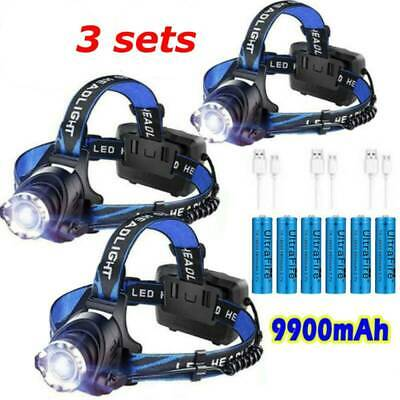 350000Lumen T6 LED Zoomable Rechargeable 18650 Headlamp USB Headlight Head Torch