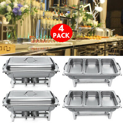 4x Stainless Steel 3Plate Chafing Dish Square Buffet Stoves Caterers Food Warmer
