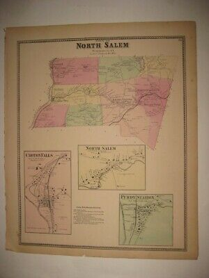 Antique 1867 North Salem Purdys Croton Falls Westchester County New York Map Fin