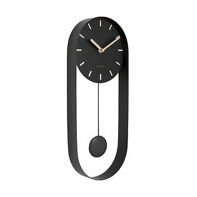Karlsson Charm Pendulum Steel Wall Clock With Gold Markers - Black