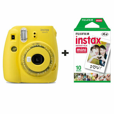 Fuji Fujifilm Instax Mini 9 Instant Camera with 10 Shots - Clear Yellow