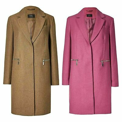 Marks and Spencer M&S Ladies Womens Holly Willoughby Winter Coat 6-24 Camel Pink