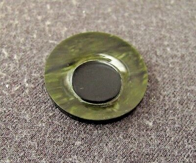 Antique 1930'S Art Deco Black & Marbled Green Galalith Rounded Eye Applique