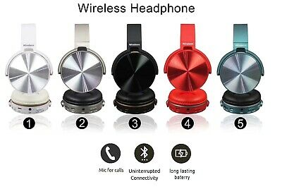 Bluetooth Wireless Headphones Headset Noise Cancelling Over Ear With Microphone