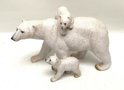 Amy and Addy Polar Bear Family Mother with Cubs Figurine Wildlife Statue