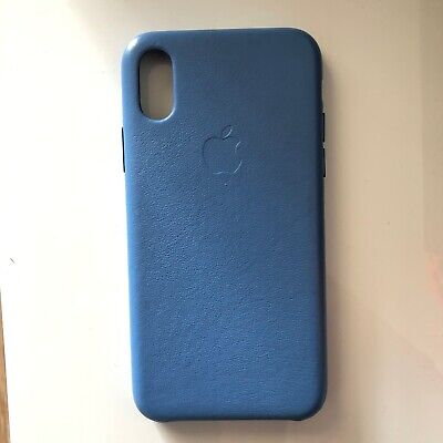 2x Preloved Original Apple iPhone Xs Blue Natural Leather & Orange Silicon Case