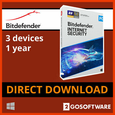 Bitdefender Internet Security Anti Virus 3 Pc 1Year License 5 Min Email Delivery