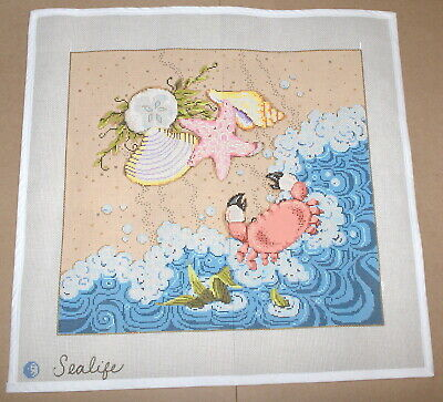 "Sandra Gilmore ""Sealife"" Handpainted Needlepoint Canvas - Shells, Beach, Crab ++"