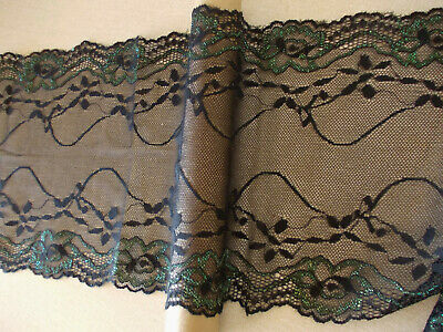 Black Stretch soft fine net style floral shaped lace 2.5m lengths