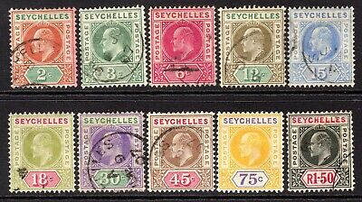 Seychelles KEVII  1906 9Wmk Multi CA) Set to 1r.50 SG60-69 Used (High Cat)